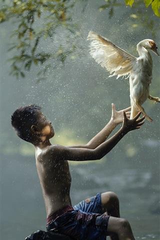 iPhone Wallpaper Boy and bird, river