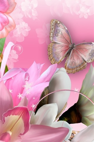 iPhone Wallpaper Butterfly, orchids, flowers, collage, creative design
