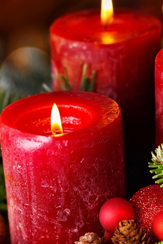 Christmas New Year Balls Red Candles Flame 1080x1920