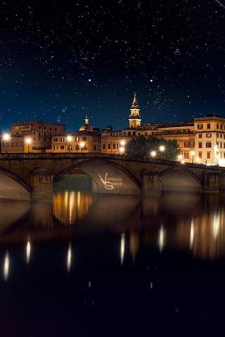 iPhone Wallpaper City, night, bridge, river, houses, lights, stars