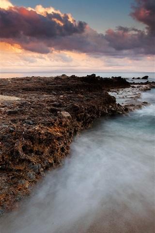 iPhone Wallpaper Coast, sea, clouds, sunset