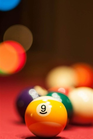 iPhone Wallpaper Colorful billiards, blurry background