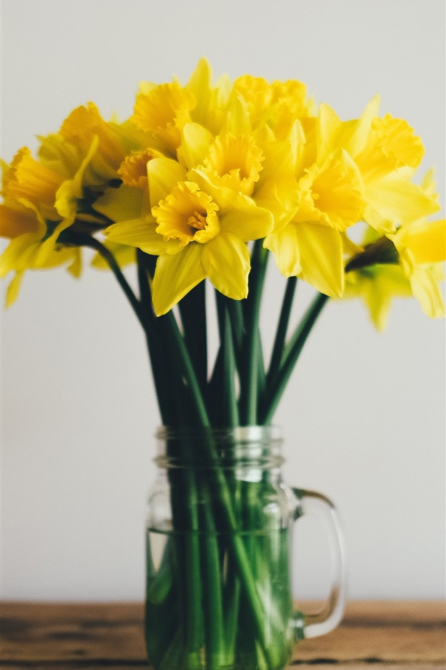 Wallpaper Daffodils Yellow Flowers Vase 3840x2160 Uhd 4k Picture Image