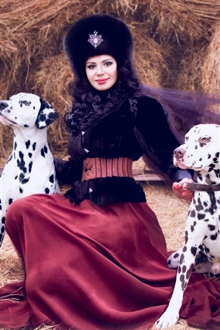 iPhone Wallpaper Dalmatians, lady and two dogs
