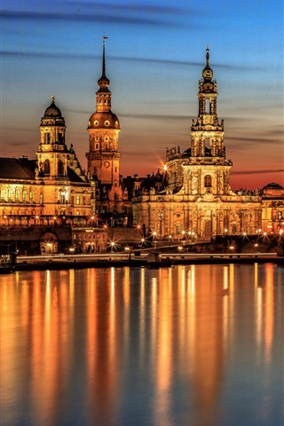 iPhone Wallpaper Dresden at night, bridge, houses, river, lights, Germany