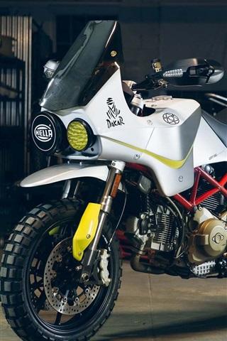 iPhone Wallpaper Ducati Hypermotard white motorcycle 2017