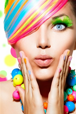 iPhone Wallpaper Fashion girl, colorful hair, makeup