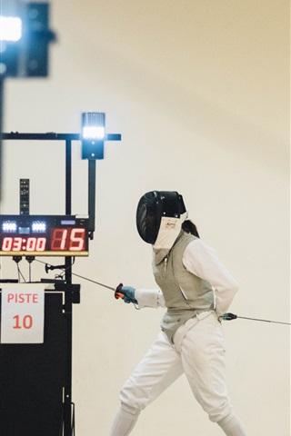 iPhone Wallpaper Fencing, sword, girl