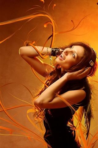 iPhone Wallpaper Girl listen music, orange background