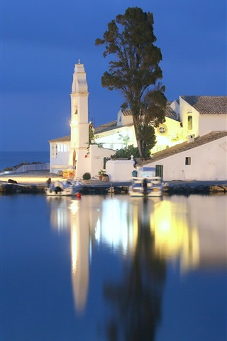 iPhone Wallpaper Greece, Ionian sea, church, small island, night, water reflection