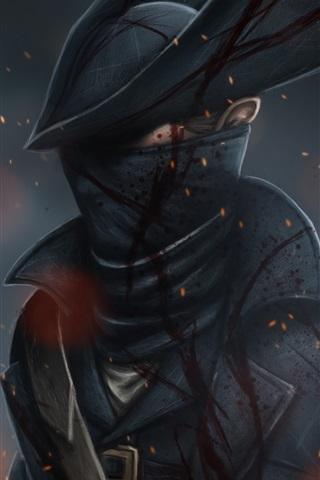 iPhone Wallpaper Hunter, hat, blood, art picture