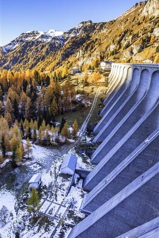 iPhone Wallpaper Italy, Canazei, snow, mountains, trees, dam, winter