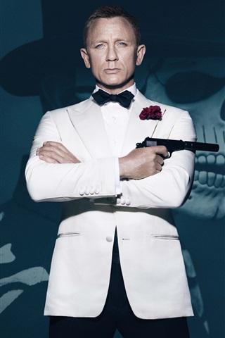 iPhone Papéis de Parede James Bond, roupas brancas, 007