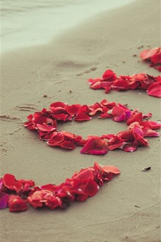 iPhone Wallpaper Love, rose petals, beach
