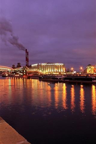 iPhone Wallpaper Moscow, city night, lights, river, bridge, boats