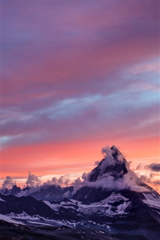 iPhone Wallpaper Mountains, snow, sunset, fog, clouds, morning