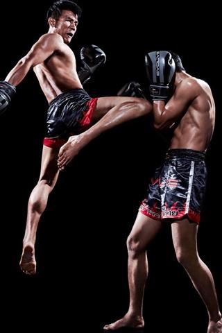 iPhone Wallpaper Muay thai, fight, sports, black background