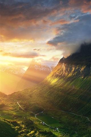 iPhone Wallpaper Norway, Alesund, mountains, valley, sunshine, sunrise, morning
