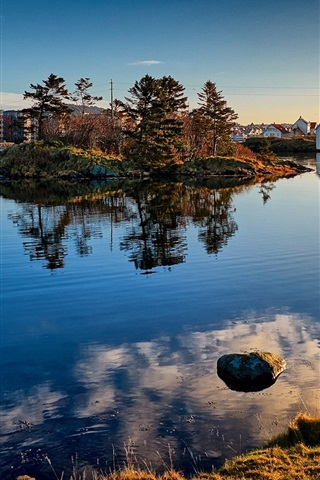iPhone Wallpaper Norway, Haugesund, trees, lake, houses