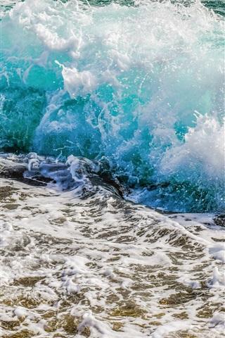 iPhone Wallpaper Ocean, coast, sea waves, splash, foam