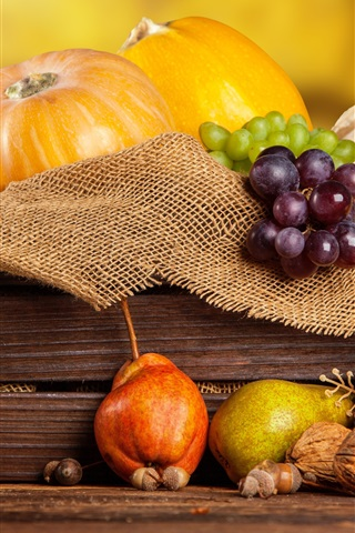 iPhone Wallpaper Pumpkin, chestnuts, grapes, pear, nuts, box