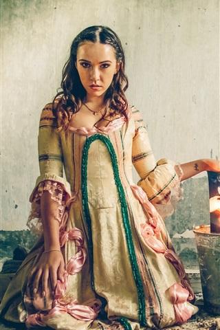 iPhone Wallpaper Sadness girl, bucket, burning photo, retro dress