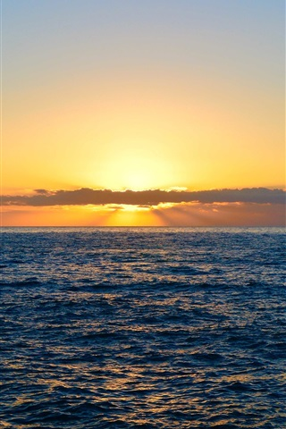 iPhone Wallpaper Sea, clouds, sunset, nature landscape