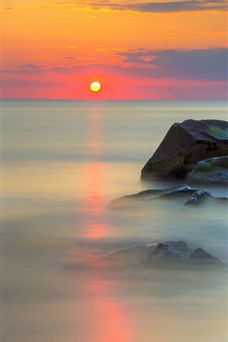 iPhone Wallpaper Sea, stones, red sky, water reflection, clouds, sunrise