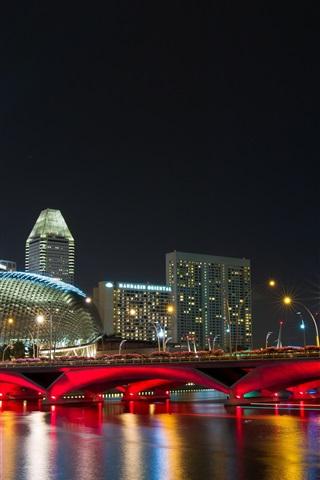 iPhone Wallpaper Singapore city night, bridge, lights, promenade, buildings