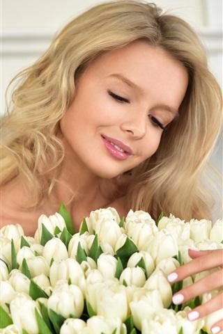 iPhone Wallpaper Smile blonde girl, white tulips