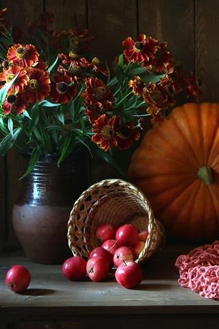 iPhone Wallpaper Still life, flowers, pumpkin, apples, onion, berries, basket