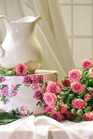 iPhone Wallpaper Still life, pink roses, vase, box, window