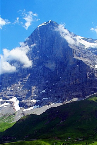 iPhone Wallpaper Switzerland, Alps, The Eiger, clouds, blue sky