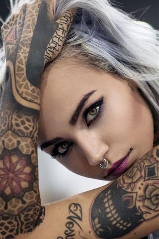 iPhone Wallpaper Tattoo girl, face, look, hand