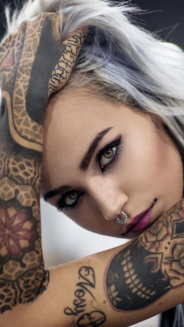 Tattoo Mdchen, Gesicht, Blick, Hand 1920X1200 Hd -7048
