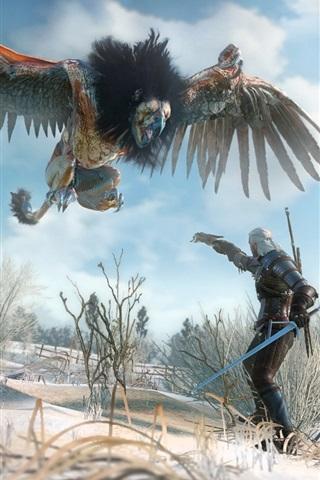 iPhone Wallpaper The Witcher 3: Wild Hunt, monster bird