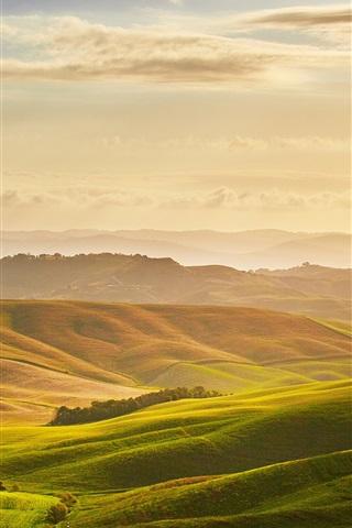 iPhone Wallpaper Toscana beautiful nature landscape, meadows, clouds, sunrise, Italy