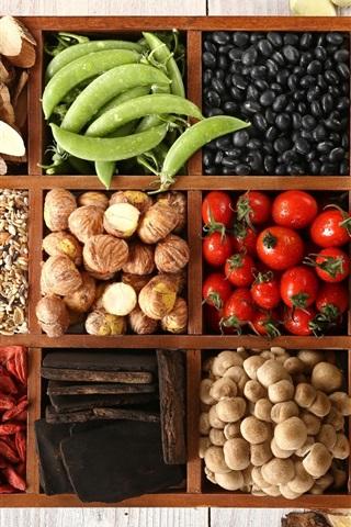 iPhone Wallpaper Vegetables, pepper, peas, mushrooms, chestnuts, goji