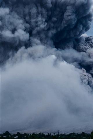 iPhone Wallpaper Volcano eruption, smoke, nature power