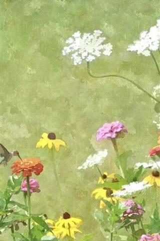 iPhone Hintergrundbilder Aquarell, Malerei, Blumen, Kolibri, Frühling
