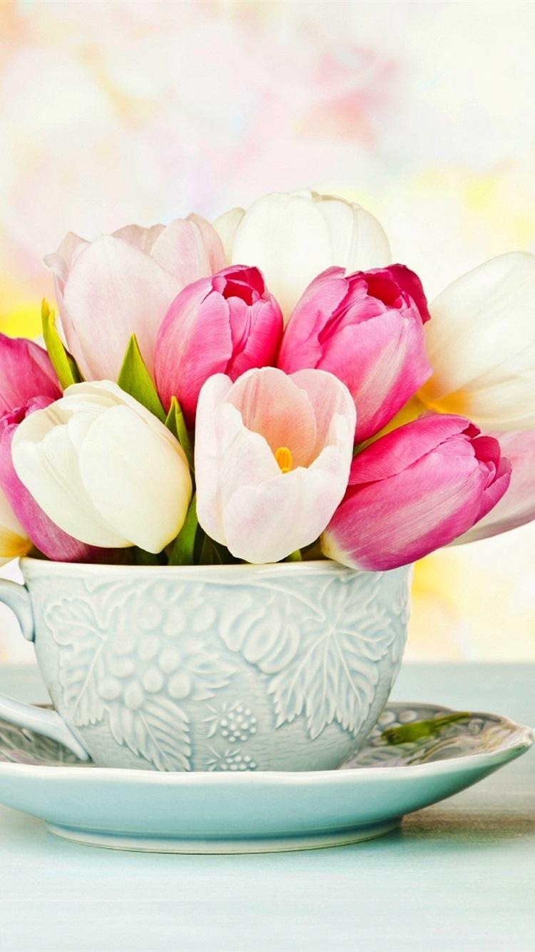 Днем, открытка тюльпаны в чашке