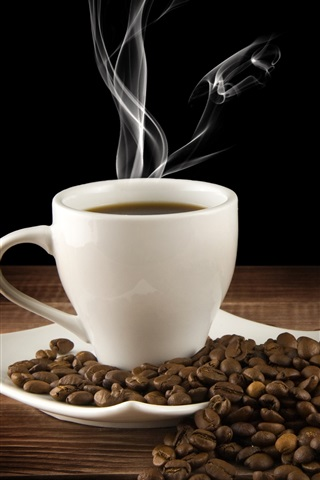 iPhone Wallpaper White cup, drink, hot coffee, saucer, steam, coffee beans
