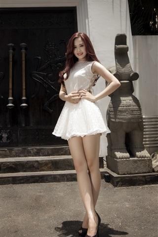 iPhone Wallpaper White skirt Asian girl, legs, sexy