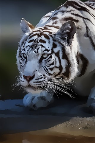 iPhone Wallpaper White tiger, art painting