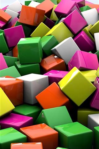 iPhone Papéis de Parede Cubos 3D, cores coloridas