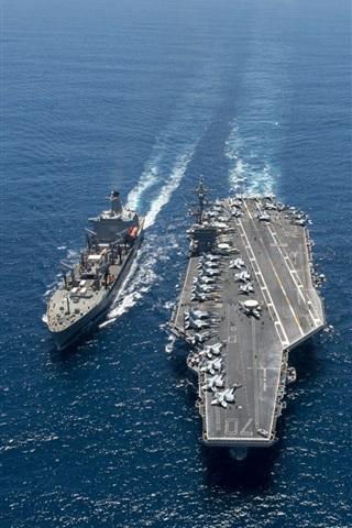 iPhone Wallpaper Aircraft Carrier, USS Carl Vinson, battleship, sea