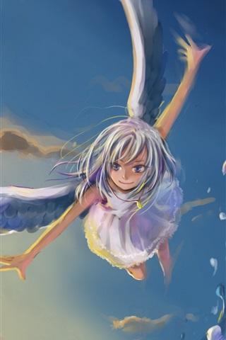 iPhone Wallpaper Anime angel girl flying, wings, sky