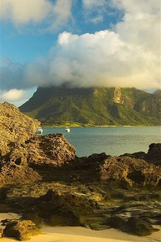 iPhone Wallpaper Australia, mountains, island, sea, rocks, clouds