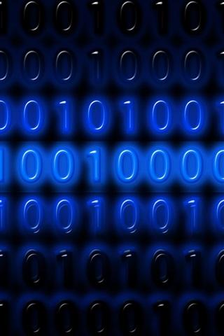 iPhone Wallpaper Binary code numbers, one or zero, blue, digital
