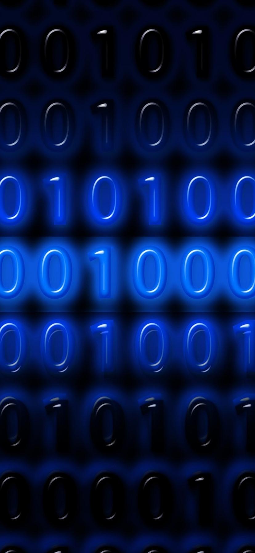 Wallpaper Binary Code Numbers One Or Zero Blue Digital